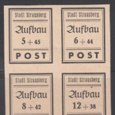 Sellos: ALEMANIA LOCALES, STRAUSBERG. 1946 MICHEL Nº 42 / 45 /*/. Lote 156556986