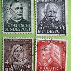 Briefmarken - Alemania. 59/62 Benefactores de la humanidad: Francke, Kneipp, Senckenberg, Nansen. 1953. Sellos usa - 156869286