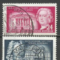 Sellos: ALEMANIA DDR - 1953 - MICHEL 382/383 - USADO. Lote 156959550