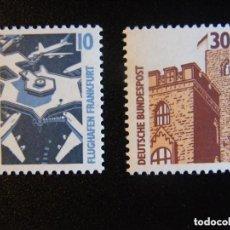 Sellos: ALEMANIA 1988 IVERT 1179/80 *** SERIE BÁSICA - AEROPUERTO Y CASTILLO. Lote 158784242