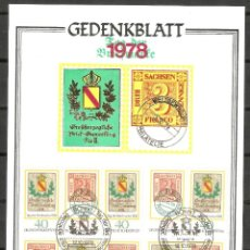 Sellos: ALEMANIA FEDERAL.1978. GEDENKBLATT. TAG DER BRIEFMARKE. Lote 159954842