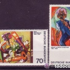 Sellos: ALEMANIA FEDERAL 1974 IVERT 673/4 *** EXPRESIONISMO ALEMAN (III) - PINTURA - BECKMAN Y KIRCHNER. Lote 160218498