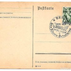 Sellos: ALEMANIA NAZI TARJETA POSTAL CON MATASELLOS BERLÍN DES FÜHRERS GEBURTSTAG AÑO 1938 CON SELLO. Lote 160840550