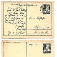 Sellos: ALEMANIA NAZI DOS ENTEROS POSTALES, UNO SIN CIRCUAR Y OTRO CIRCULADO AÑO 1935. Lote 160840854