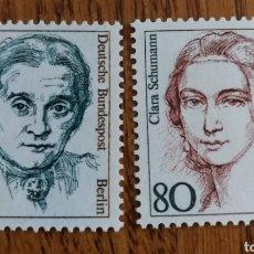 Sellos: ALEMANIA(BERLÍN) :MICHEL 770/71 MNH, MUJERES ALEMANAS, AÑO 1986. Lote 162951137