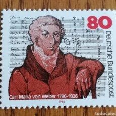 Sellos: ALEMANIA :N°1146,MUSICA, CARL MARIA VON WEBER, AÑO 1986. Lote 163018244