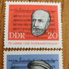 Sellos: ALEMANIA DDR:N°671/72 MNH, 75°ANIVERSARIO DEL HIMNO INTERNACIONAL, AÑO 1963. Lote 163035144