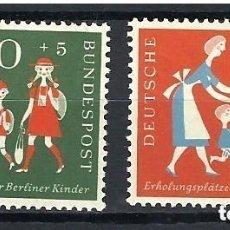 Sellos: ALEMANIA FEDERAL 1957 IVERT 129/30 *** A BENEFICIO COLONIAS DE VACACIONES DE LOS NIÑOS BERLINESES. Lote 163460474