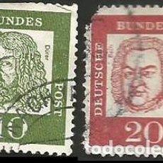 Sellos: ALEMANIA, R. F. 1961 - LOTE 2 SELLOS USADOS. Lote 163977994