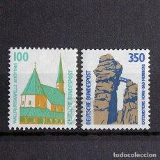 Sellos: ALEMANIA 1989 ~ SERIE NUEVA MNH LUJO ~ TURISMO: ALTÖTTING Y HORN-BAD MEINBERG. Lote 164739906