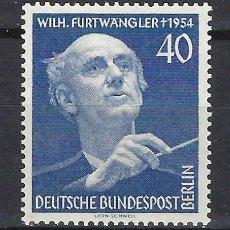 Sellos: ALEMANIA / BERLÍN 1955 - WILHELM FURTWÄNGLER, COMPOSITOR - SELLO NUEVO **. Lote 169790872