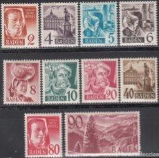 Sellos: ZONA FRANCESA, BADEN, 1948 YVERT Nº 28 / 37, /**/, SIN FIJASELLOS. . Lote 170885600