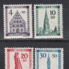 Sellos: ZONA FRANCESA, BADEN, 1949 YVERT Nº 42 / 45 /**/, SIN FIJASELLOS. . Lote 170885685