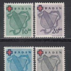 Sellos: ZONA FRANCESA, BADEN, 1949 YVERT Nº 38 / 41 /*/. Lote 170885785