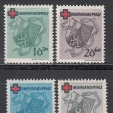 Sellos: ZONA FRANCESA, RENANIA - PALATINADO, 1949 YVERT Nº 41 / 44 /**/, SIN FIJASELLOS.. Lote 170889620