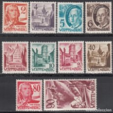 Sellos: ZONA FRANCESA, WURTEMBERG , 1948-49 YVERT Nº 28 / 37, /**/, SIN FIJASELLOS. Lote 170890970