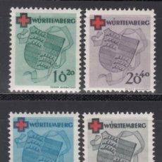 Sellos: ZONA FRANCESA, WURTEMBERG , 1948-49 YVERT Nº 38 / 41 /*/. Lote 170891060