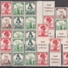 Sellos: ALEMANIA IMPERIO, 1935 JUEGO COMPLETO DE COMBINACIONES PROCEDENTE DE CARNET, SIN FIJASELLOS, . Lote 177327327