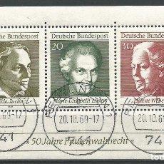 Sellos: ALEMANIA - RFA - 1969 - BLOQUE 50 AÑOS DE LEY DE ELECCIÓN DE MUJERES DE ALEMANIA - CON GOMA. Lote 177708725
