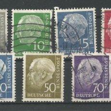 Sellos: ALEMANIA - RFA - 1954 - LOTE - PRIMER PRESIDENTE FEDERAL ALEMANIA - THEODOR HEUSS - USADOS. Lote 177710222