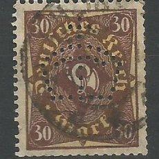 Sellos: ALEMANIA - IMPERIO - 30 MARCOS PERFORADO DE UNA CORONA - USADO. Lote 178786162