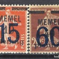 Sellos: MEMEL 1920 - SELLO DE FRANCIA, SEGADORA, SOBREIMPRESOS Y RECARGADOS - SELLOS NUEVOS **/*. Lote 178944906