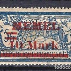 Sellos: MEMEL 1920 - SELLO DE FRANCIA, TIPO MERSON, SOBREIMPRESO Y SOBRECARGADO - SELLO NUEVO C/F*. Lote 178945646