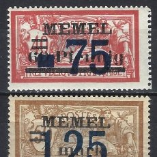 Sellos: MEMEL 1922 - SELLO DE FRANCIA,TIPO MERSON, SOBREIMPRESOS Y RECARGADOS, S.COMPLETA - SELLO NUEVO **/*. Lote 178945995