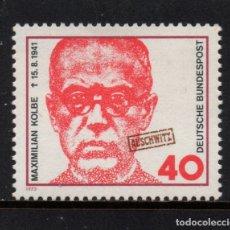 Sellos: ALEMANIA 621** - AÑO 1973 - MAXIMILIAN KOLBE RELIGIOSO, MUERTO EN EL CAMPO DE CONCENTRACION . Lote 178963456