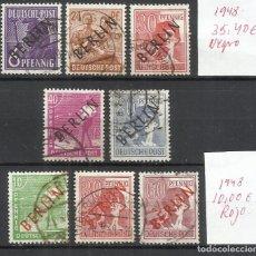Sellos: 8220-LOTE SELLOS ALEMANIA BERLIN 1949 45,40€ SOBRECARGA ROJA Y NEGRA, ORIGINALES USADOS.HABILITADOS.. Lote 179008127