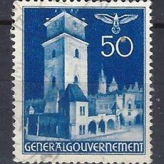 Sellos: GOBIERNO GENERAL 1940 EN POLONIA - EDIFICIOS, TORRE DEL AYUNTAMIENTO. CRACOVIA - SELLO USADO. Lote 179090352