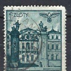 Sellos: GOBIERNO GENERAL 1941 EN POLONIA - EDIFICIOS, PALACIO DE BRÜHLSCHE. VARSOVIA - SELLO USADO. Lote 179091091
