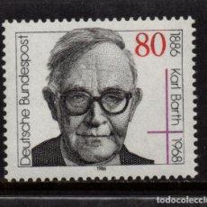Sellos: ALEMANIA 1114** - AÑO 1986 - CENTENARIO DEL NACIMIENTO DEL TEOLOGO KARL BARTH. Lote 179171077