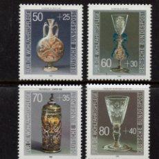 Sellos: ALEMANIA 1129/32** - AÑO 1986 - OBJETOS DE CRISTAL DEL MUSEO DE COLONIA. Lote 179171332