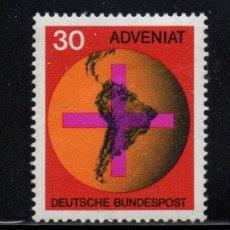 Sellos: ALEMANIA 410** - AÑO 1967 - CAMPAÑA CATÓLICA POR LAS IGLESIAS SUDAMERICANAS. Lote 180111021