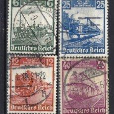 Sellos: ALEMANIA 1935 - LOCOMOTORAS, I CENT. DE LOS FERROCARRILES ALEMANES, S.COMPLETA - SELLOS USADOS. Lote 180425171