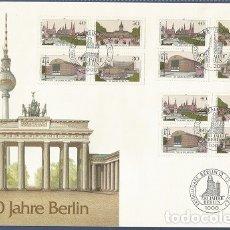 Sellos: ALEMANIA - 1987 - 750 AÑOS BERLIN - SOBRE CON 3 BLOQUES Y MATASELLOS DEL PRIMER DÍA DE CIRCULACIÓN. Lote 181213765