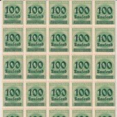 Sellos: BLOQUE DE 25 EN BORDE DE HOJA: IMPERIO ALEMÁN 1923 - SERIE BÁSICA. SOBRECARGADOS (VERDE), 400-100. Lote 181422235