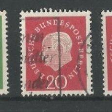 Sellos: ALEMANIA - FEDERAL - BERLIN 1957 - SERIE HEUSS SIN EL DE 70 PFENNIG - CON UN DE 20 PFG NUEVO. Lote 181778668