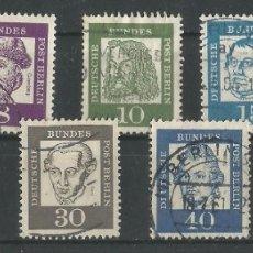 Sellos: ALEMANIA - FEDERAL - BERLIN 1961 - 62 - SERIE BÁSICO - 7 SELLOS UN CON GOMA TODOS CON MATASELLO. Lote 181779368