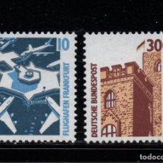 Sellos: ALEMANIA 1179/80** - AÑO 1988 - AEROPUERTO DE FRANCFORT - CASTILLO DE HAMBACH. Lote 182290866