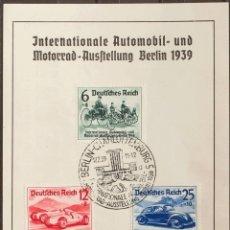 Sellos: ALEMANIA BERLÍN. FRAGMENTO YV 627/29. 1939. SERIE COMPLETA, SOBRE TARJETA PUBLICITARIA (DEUTSCHE BA. Lote 183144965