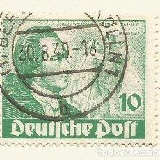 Sellos: ALEMANIA - BERLIN - 1949 - SECTOR AMERICANO, INGLES Y FRANCESA - 10 PFG - GOETHE - USADO. Lote 184702215