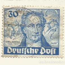 Sellos: ALEMANIA - BERLIN - 1949 - SECTOR AMERICANO, INGLES Y FRANCESA - 30 PFG - GOETHE - USADO. Lote 184702422