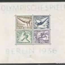 Sellos: ALEMANIA - IMPERIO - BLOQUE Nº 5 DE TERCER REICH - OLIMPIADA 1936 BERLIN - MNH CON 2 MANCHAS. Lote 188822875