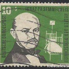 Sellos: ALEMANIA - FEDERAL - FRG - 1956 - DR. IGNAZ SEMMELWEIS - SERIE, AYUDANTE DE LA HUMANIDAD - USADO. Lote 189365121