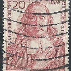 Sellos: ALEMANIA - FEDERAL - 1957 - ANIVERSARIO DE NACIMIENTO DEL TEÓLÓGO Y POETA PAUL GERHARDT - USADO. Lote 189367743