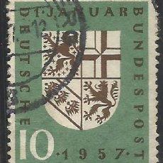 Sellos: ALEMANIA - FEDERAL - 1. DE ENERO 1957 - LA PROVINCIA SAAR VUELVE A ALEMANIA - USADO. Lote 189369473