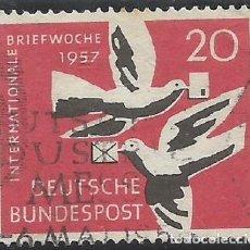 Sellos: ALEMANIA - FEDERAL - FRG - 1957 - SEMANA INTERNACIONAL DE CORREO - MICHEL 276 - USADO. Lote 189430552