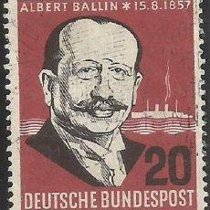 Sellos: ALEMANIA - FEDERAL - FRG - 1957 - ALBERTO BALLIN - 15.08.1857 - MICHEL 266 - USADO. Lote 189435260